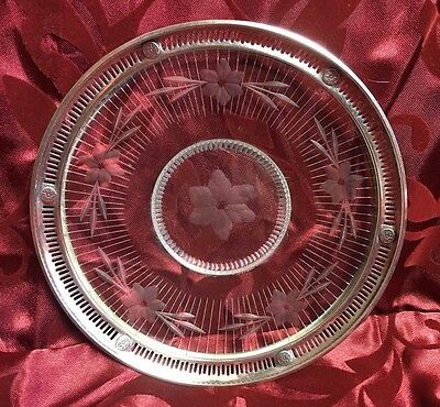 WEBSTER Sterling Silver Open Work Rim Cut Etched Glass Plate Dish Floral MARKED