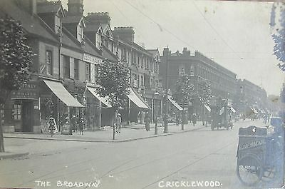 MOTOR BUS BREAD CART & SHOP FRONTS THE BROADWAY CRICKLEWOOD LONDON c1910 RP PC