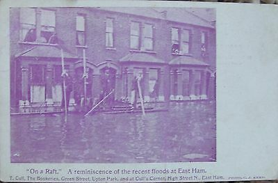 'ON A RAFT' THE FLOODS IN EAST HAM EAST LONDON c1910 PC