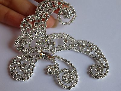 rhinestone crystal applique patch patches diamante bow sew on motif trim craft