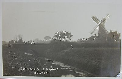 The Windmill & Bridge At Belton Near Lowestoft Suffolk 1914 Rp Pc
