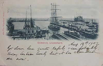 Sailship In The Harbour At Lowestoft Suffolk 1902 Undivided Back Pc