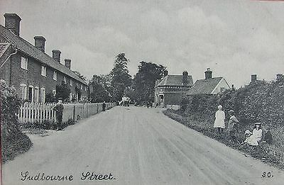 Edwardian Tots In The Street Sudbourne Near Woodbridge Suffolk Early Pc