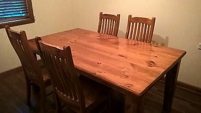 Hardwood timber dining table with 4 chairs