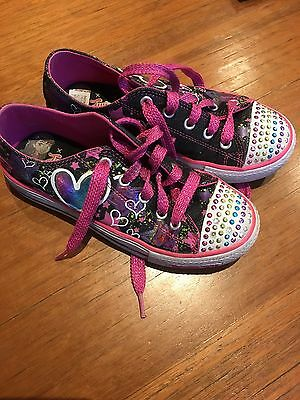Girls Shoes Runners Sketchers Twinkle Toes Light up Size 2 Exc Cond