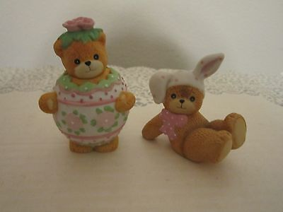 Enesco Lucy And Me Bears - Easter - 2 Separate Figurines Htf In Egg & Sitting