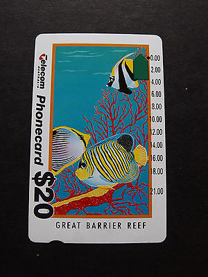 Telecom Phonecard  -1993  $20.00 Great Barrier Reef (New Logo) - USED - one hole