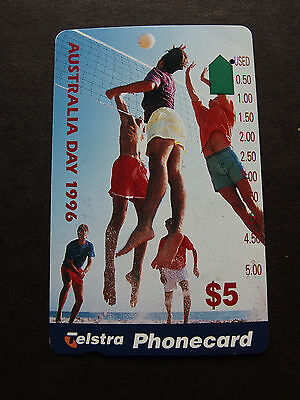 Telstra Phonecard  -1996 $5.00 Australia Day - USED - one hole
