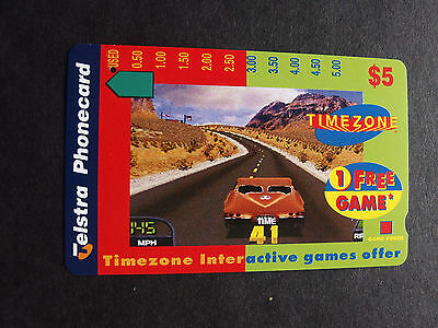 Telstra Phonecard  -1997 $5.00 Timezone - Desert Car - USED - one hole