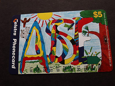 Telstra Phonecard  -1997 $5.00 Australia Day - USED - one hole