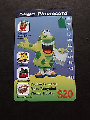 Telecom Phonecard 1995 -$20.00 Book Muncher - USED-1 hole