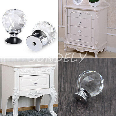 4pcs 8pcs Crystal Glass Door Knobs Drawer Cabinet Furniture Kitchen HandleTop