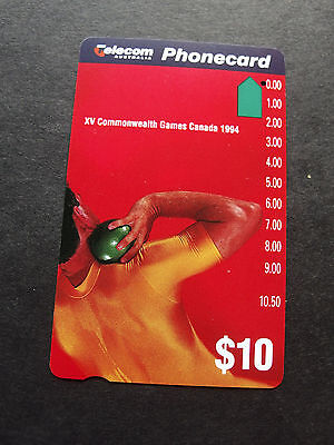 Telecom Phonecard 1994 -$10.00 Shotput - XV Commonwealth Games- USED-1 hole
