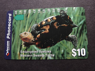 Telecom Phonecard  -1994 $10.00 Western Swamp Turtle - USED - one hole