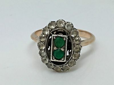 Art Deco Vintage Green & White Paste Stone 9ct Rose Gold Cluster Ring  Size N1/2
