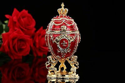 Large Royal Red Imperial Russian Faberge Egg decoration trinket Box christmas