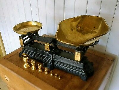 Vintage Rush & Hall (London) Cast Iron & Brass Kitchen Scales with Bell Weights