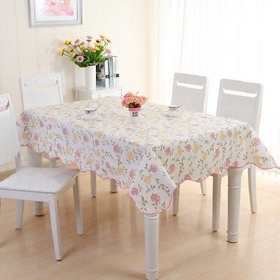 137*180cm Retro Waterproof Fabric Kitchen Tablecloth Rose Printed PVC Oilcloth