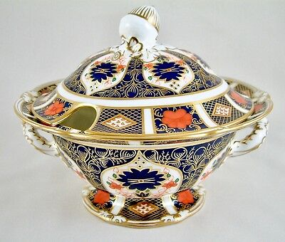 Royal Crown Derby China Old Imari 1128 Sauce Tureen & Cover 1St Excellent!