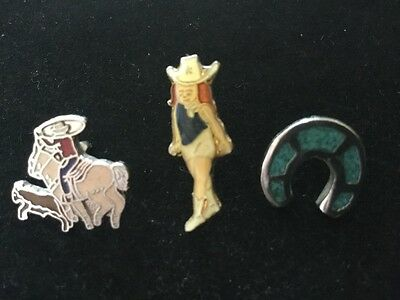 Vintage Cowgirl, Cowboy & Horseshoe Lapel Pin or Tie Tack