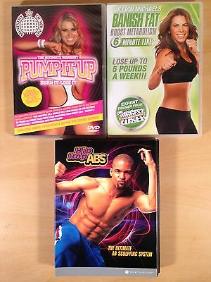 Shaun T's Hip Hop ABS Jillian Michaels Banish Fat 6 Minute Fixes Pump it Up DVD