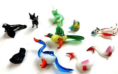 10x Small Glass Animals Cat Penguin Seal Elephant Duck Birds