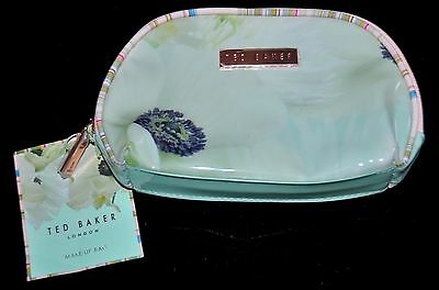 Bnwt Ted Baker Designer Small Pvc Make Up Bag Cosmetic Travel Vanity Floral