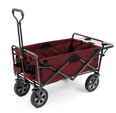 MAC Sports Wagon with Picnic Tray Table Bonus RED Folding Beach Cart