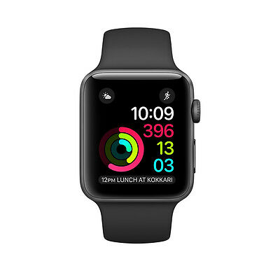 New! Apple Watch Series 2 42mm Space Grey Aluminum Black Sport Band MP062LL/A