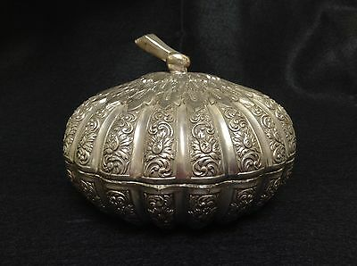 Vintage Silver Lidded Bowl Ornate Scrolling Leaves Repousse Rare