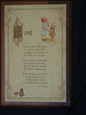 "Holly Hobbie ""Love"" Wooden Plaque John Sands 1973 American Greeting Corporation"