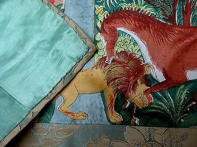 Silk Wall Hanging Lion Attacking a Horse Antique Chinese Panel Table Cover