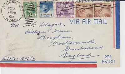 B 1016 Canal Zone cover to UK; 1955 x 5 srtamps