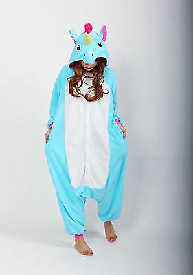 Blue Unisex Unicorn Kigurumi Pajamas Animal Cosplay Costume Sleepwear XL