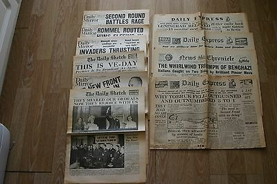 Selection of 30 WW2 newspaper copies from the 1940s.