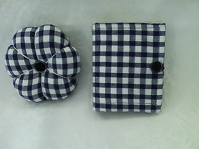 Pin Cushion & Needle Case Set - Navy Gingham,  Gift Idea