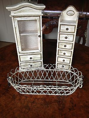 Vintage Style Shabby Chic Six Drawer Trinket Stand Alone Or Wall Hung Chest