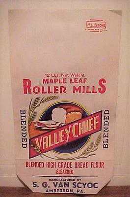 NOS - Old Vintage 12lb. Valley Chief Paper Flour Sack - Roller Mills Amberson PA