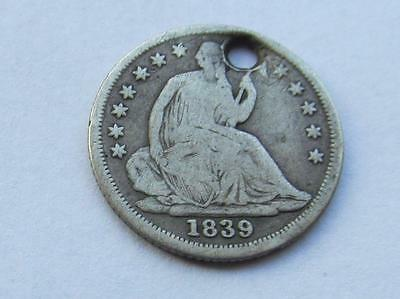 USA Seated Liberty Half Dime dated 1839 - Good HOLED fillere Coin