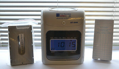 ...Time Recorder Clocking in Clock Machine with Time Cards and Card Rack