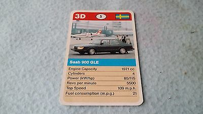 Saab 900 GLE Original Top Trump Card Free Postage Collectible Rare