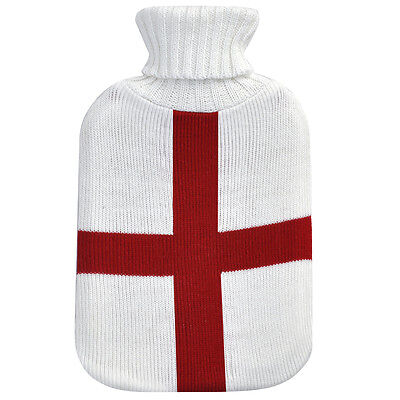 Safety Warmer Large Hot Water Bottle With Knitted Knitting Cover England Flag