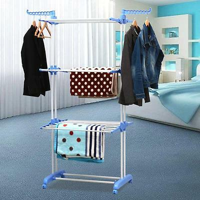 3 Tier Foldable Extra Large Foldable Clothes Airer Dryer w/ Hanging Wings Blue