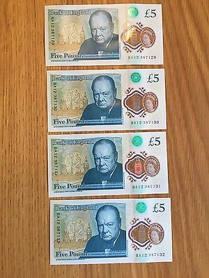 4x NEW £5 POLYMER FIVE POUND NOTE CONSECUTIVE MINTED UNCIRCULATED BA12 Prefix