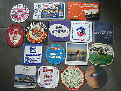 Bar Coasters x 16, Various brands, Vintage Old Used Drink Mancave Beer