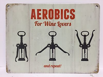 Aerobics For Wine Lovers Vintage Retro Steel Sign Pub Bar Kitchen Wall Decor