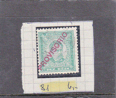 """PORTUGAL D. LUIS I 10 REIS SURCHARGED """"PROVISORIO"""" (1892-93)   Used"""