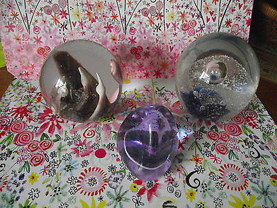 paperweights x 3 caithness pebble & 2 others blues purples whites controled work