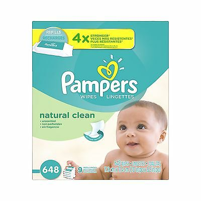 Pampers Baby Wipes Natural Clean (Unscented) 9X Refill 648 Count