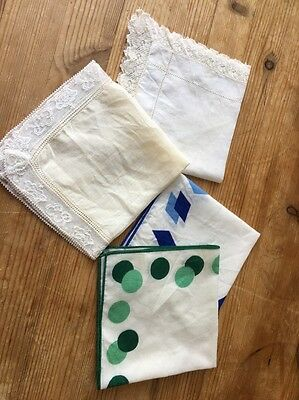 4 Vintage Hankies Handkerchief Prop Stage Theatre Costume